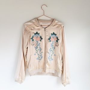 Blank NYC Silky Embroidered Rose Bomber Jacket